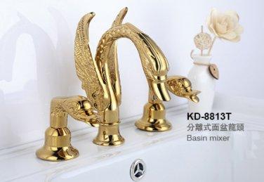 "ti-gold clour SWAN  FAUCET 8""  WIDESPREADY swan sink  FAUCET"