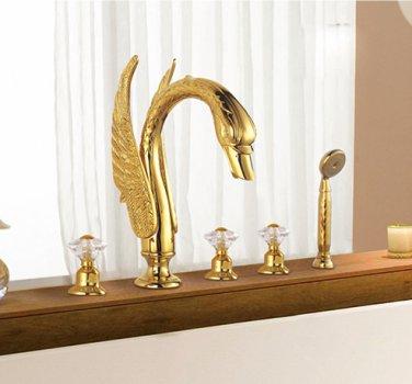 Free shipping swan bathtub faucet  5pcs hole widespread swan bathand shower cystal handles faucet