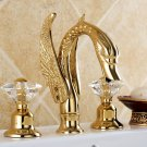 "SWAN LAV FAUCET 8""  WIDESPREADY crystal handles swan sink  FAUCET"