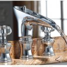 Chrome clour 8 inch widespread lavatory crystal handes sink faucet waterfall basin faucet