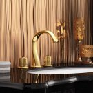 GOLD 8 inch 3 Holes widespread bathroom Lavatory Sink faucet deck mounted Luxury tap Round design