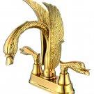 "Swan Sink Faucet mixer tap Brass PVD ti- Gold 4"" Center Hole swan handles"