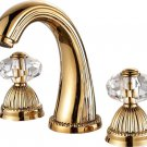 3 Holes widespread bathroom Lavatory Sink faucet Crystal handles Mixer tap Gold clour