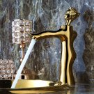 Single Hole Gold Pvd Finish Bathroom Sink Beauty Faucet Mixer Tap deck mounted luxurious tap