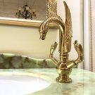 GOLD PVD single hole Double SWAN handles bathroom basin swan faucet mixer tap New