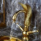GOLD PVD single hole Double Crystal handles bathroom basin swan faucet mixer tap New