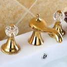 3 Holes widespread bathroom Lavatory Sink faucet ring handles Mixer tap Gold clour deck mounted