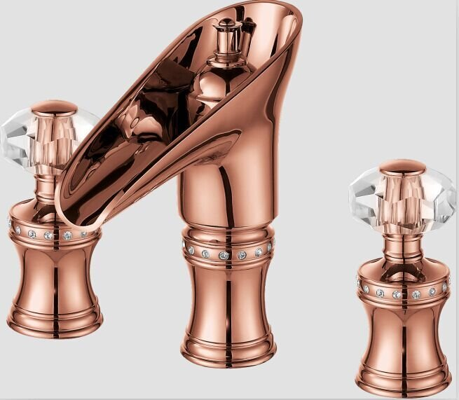 3 Pieces Widespread Basin Lav sink Faucet Waterfall Mixer Tap crystal handles ROSE GOLD