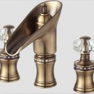 Antique brass 3 Pieces Widespread Basin Lav sink Faucet Waterfall Mixer Tap crystal handles