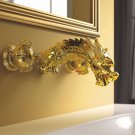 Wall Mount Gold Brass Bathroom Lavatory Sink Faucet Dragon Dual Handles Mixer Basin Tap