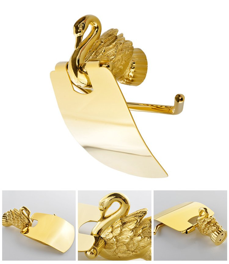 Bathroom Accessories Bath Hardware Set Golden Color Swan Toilet Paper Holder