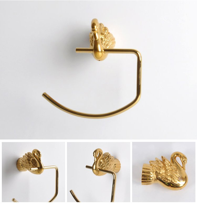 Bathroom Accessories Bath Hardware Set Golden Color Swan TOWEL RING