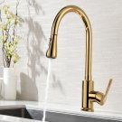 Brass Gold Polished Kitchen Sink Faucet Pull Out Sprayer Spout Mixer Basin Tap