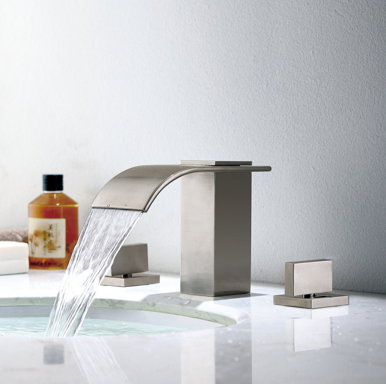 Waterfall Modern Widespread Sink Faucet Solid Brass Bathroom Tap Brushed Nickel