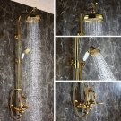 Gold wall mounted Rianfall swan Bath Tub shower Filler Faucet Handshower luxury mixer tap