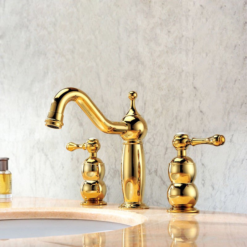 Gold Widespread Basin Sink Faucet Traditional Bathroom Mixer Taps Deck Mount