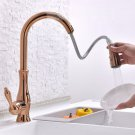 Single Handle tap High Arc Swivel Spout Pull Out Kitchen Sink Faucet Rose gold