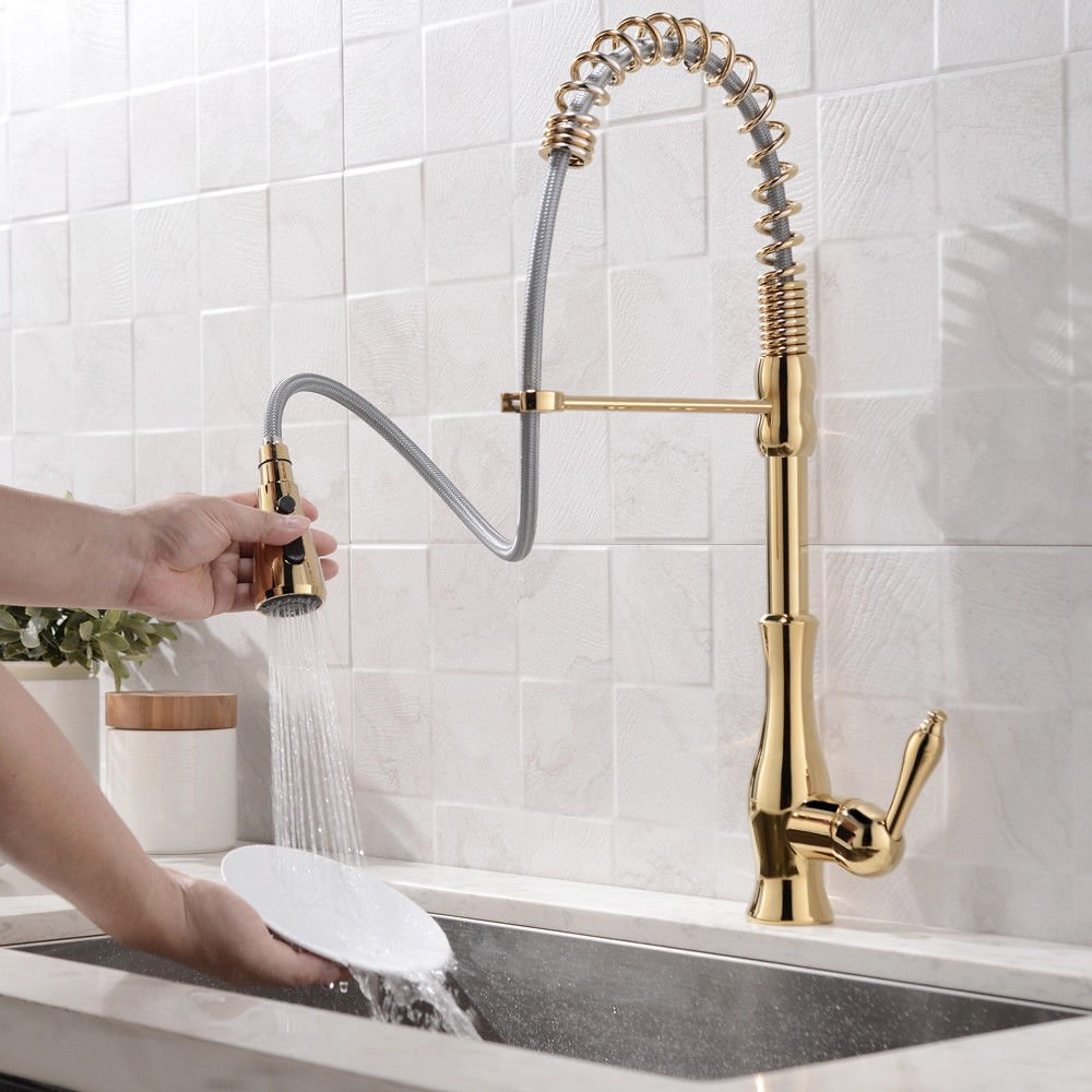 Modern Gooseneck Single Handle 3-Function Pull Out Sprayer Gold Kitchen Faucet