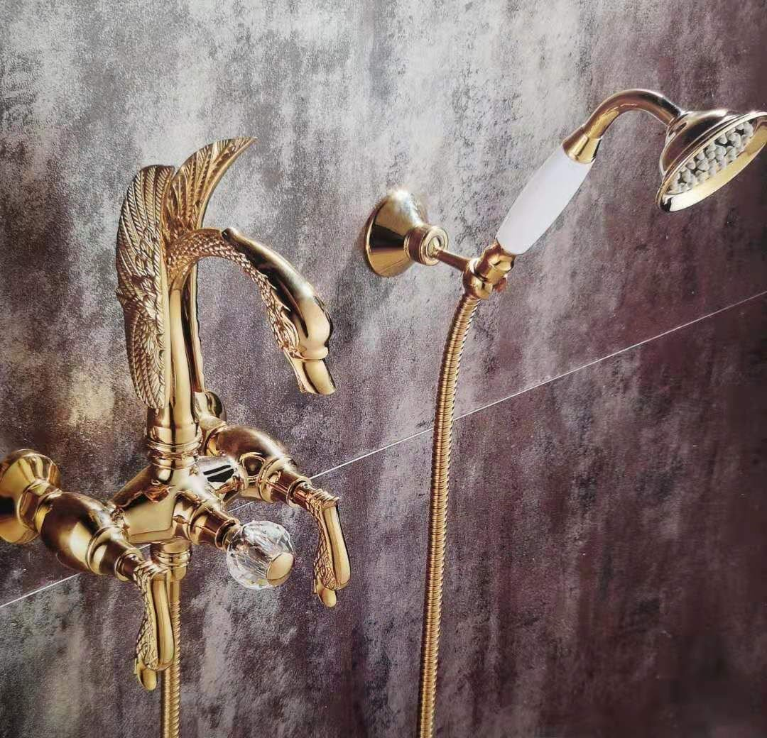 Gold wall mounted swan Handle Bath Tub shower Filler Faucet with Hand shower