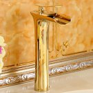 Tall Bathroom Basin Faucet Waterfall Spout Sink Vessel Mixer Tap Gold color