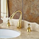 Gold PVD Widespread 3pcs Bathroom Sink Faucet Crystal Knobs Basin Mixer Tap