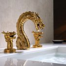 "Gold Pvd 3 Pcs 8"" WIDESPREAD LAVATORY BATHROOM SINK DRAGON FAUCET mixer tap Luxury"