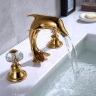 Gold Pvd 8 inch widespread lavatory sink faucet dolphin faucet Crystal handles