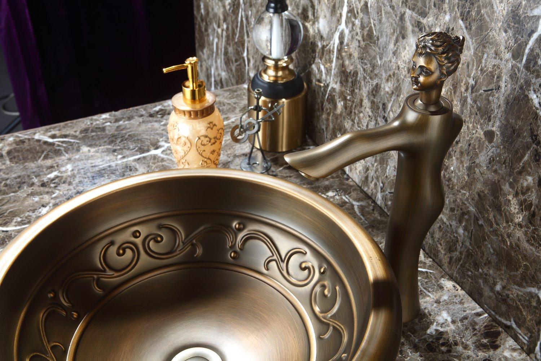 MODERN COPPER ROUND UNDERMOUNT HAMMERED BATHROOM SINK BASIN ANTIQUE COLOUR
