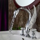 3 PIECE ROMAN  Luxury TUB CRYSTAL HANDLES SWAN CHROME bathtub FAUCET