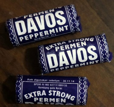 3 x Davos Peppermint Candy Permen classic tempo dulu 25grams Free Shipping