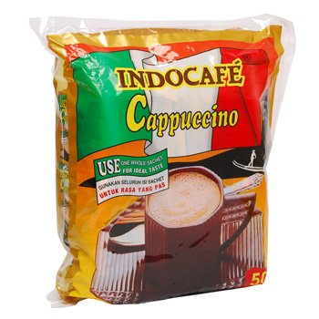 Indocafe Cappuccino 1250 gram instant coffee 50-ct @ 25 gr