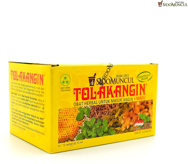 Sido Muncul Tolak Angin Herbal with Honey 12-ct, 180 Ml/ 6 fl oz (Pack of 6)