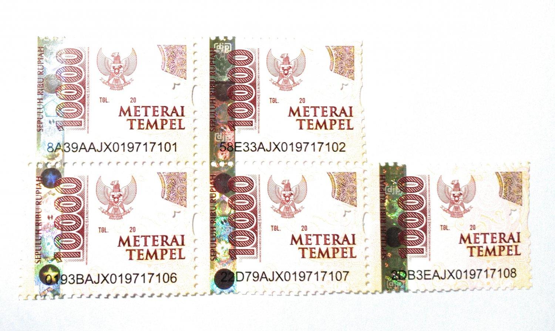 Stamp Duty Materai Tempel Indonesia 10000 (Sepuluh Ribu Rupiah) - 5 pcs