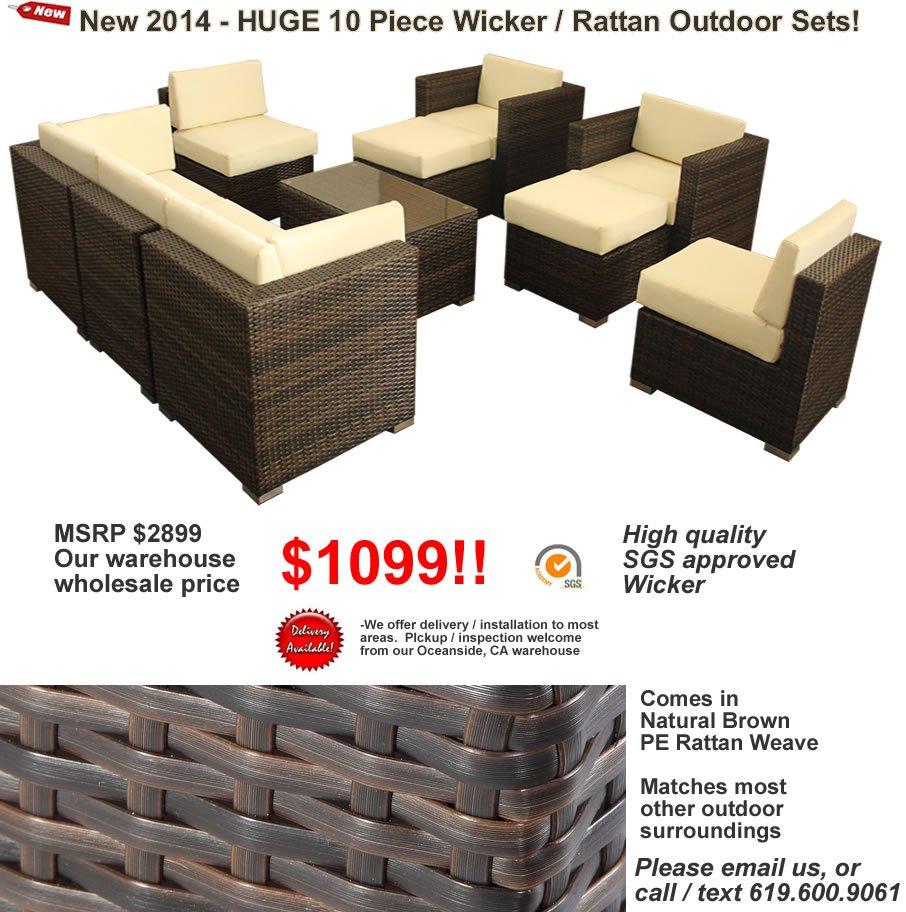 10 Piece Outdoor Wicker Patio Furniture Chair / Table Set PE Rattan