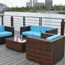 Dark Brown Outdoor Wicker Rattan 4 Piece Patio Sofa Set w/ SUNBRELLA Upgrade