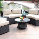 Modern Rounded Wicker PE Rattan Outdoor Patio Furniture Set w/ Coffee Table