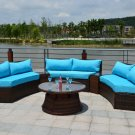 Curved 6 Seat Outdoor Wicker PE Rattan Sofa Lounger Patio Furniture Set Table