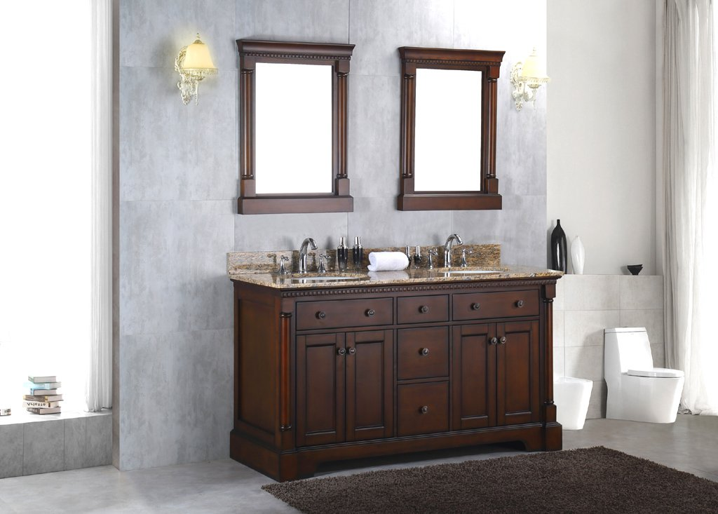 New solid wood 60 double bathroom vanity sink cabinet w granite stone top Solid wood bathroom vanities cabinets