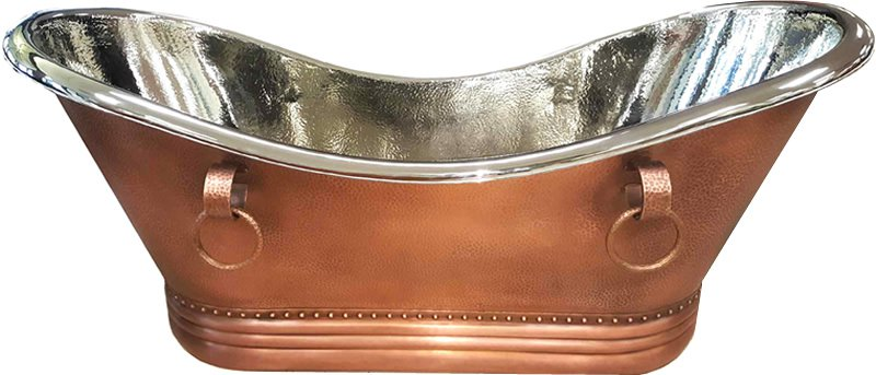"72"" 100% Copper Soaking Bathtub Tub w/ Nickel Interior Hammered Exterior"