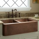 "33"" DOUBLE-BOWL HAMMERED COPPER FARMHOUSE KITCHEN SINK"