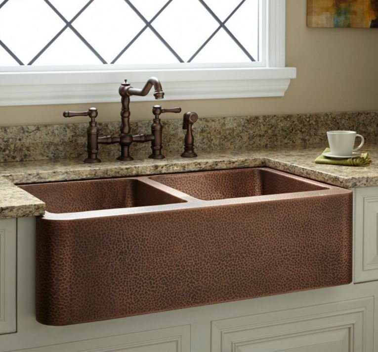 """36"""" DOUBLE-BOWL HAMMERED COPPER FARMHOUSE KITCHEN SINK"""