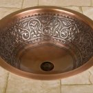 "18"" SCROLLED 100% COPPER BATHROOM SINK ROUND"
