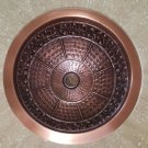 "14"" SCROLLING LEAF DESIGN ROUND COPPER BATHROOM SINK"