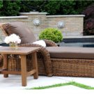 New High Quality Wicker PE Rattan Daybed Pool Patio Lounger Chair + Side Table