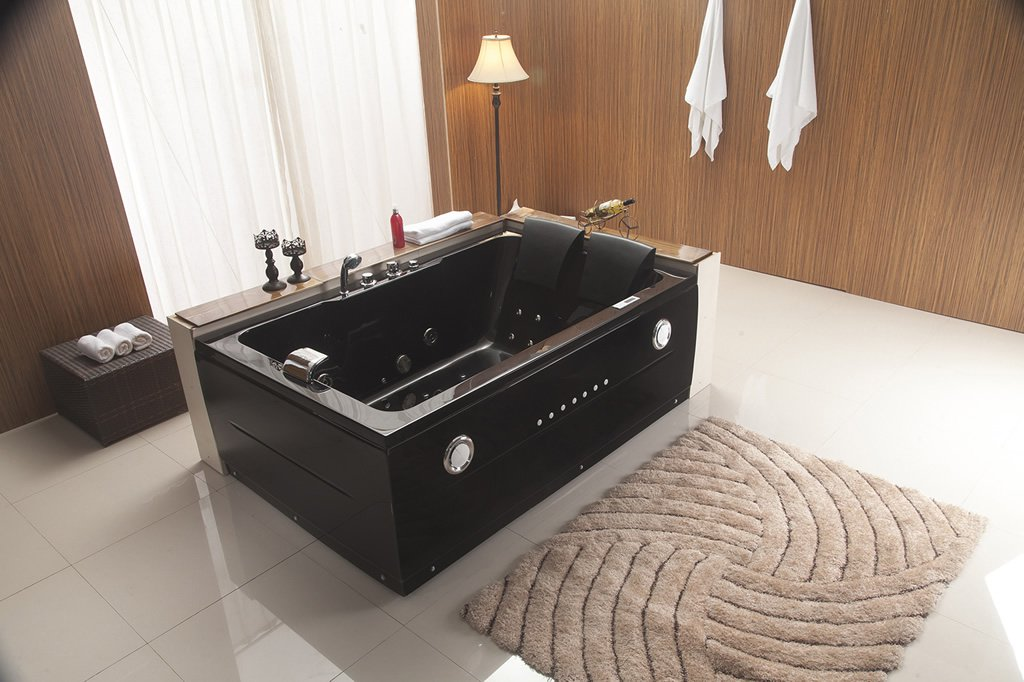 Black 2 Person Indoor Whirlpool Hot Tub Spa Hydrotherapy