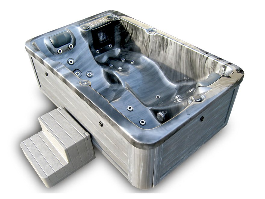 New Indoor Outdoor 2 Person Grey Marble Hydrotherapy Hot Tub Spa Cover