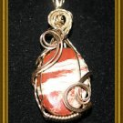 Wire Wrapped Brown/Beige Pendant