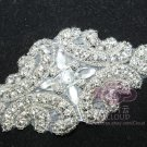"4"" BEADED GLASS CRYSTAL RHINESTONE WEDDING CRAFT SASH HEADBAND APPLIQUE"