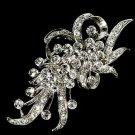 WHISPER RHODIUM FLOWER SPRAY BRIDAL WEDDING RHINESTONE CRYSTAL BROOCH HAIR PIN