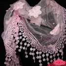 FASHION WOMEN PINK WHITE TRIANGLE ROSE SEQUIN TASSEL LACE STOLE WRAP SHAWL